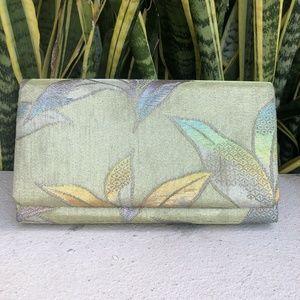 Vtg Gold Floral Brocade Clutch Purse Evening Bag